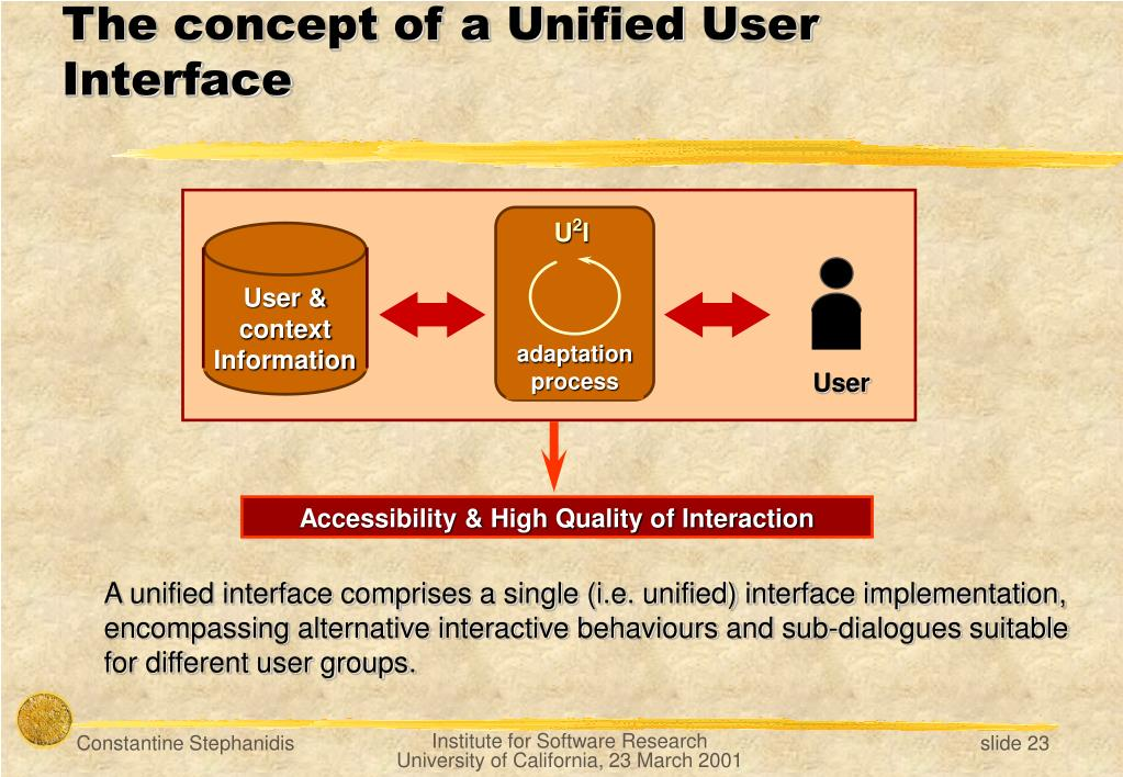 A unified interface comprises a
