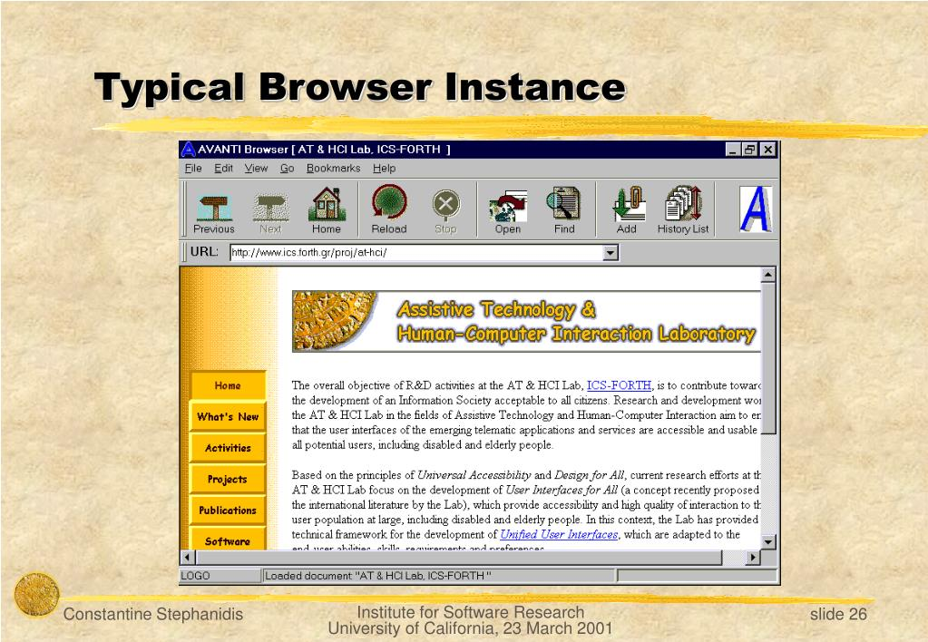 Typical Browser Instance