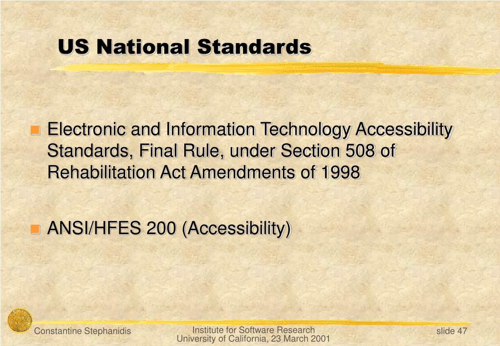 US National Standards