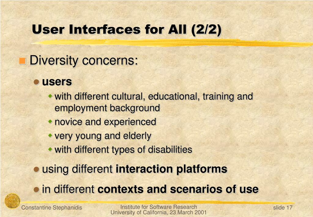 User Interfaces for All (2/2)