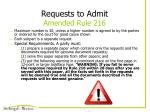 requests to admit amended rule 216