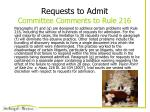 requests to admit committee comments to rule 216
