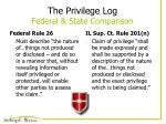 the privilege log federal state comparison