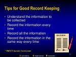 tips for good record keeping