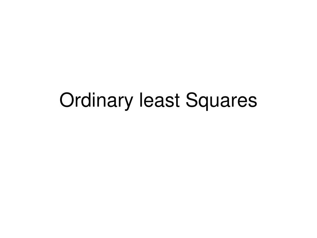 ordinary least squares l.