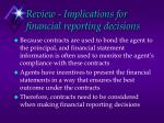 review implications for financial reporting decisions