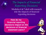 the impacts of financial reporting decisions