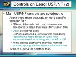 controls on lead usp nf 2