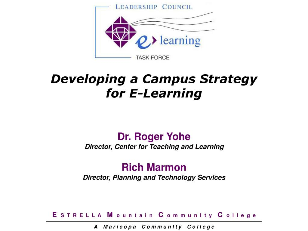 developing a campus strategy for e learning l.