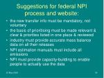 suggestions for federal npi process and website
