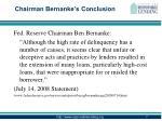 chairman bernanke s conclusion