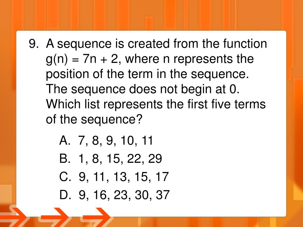 A sequence is created from the function