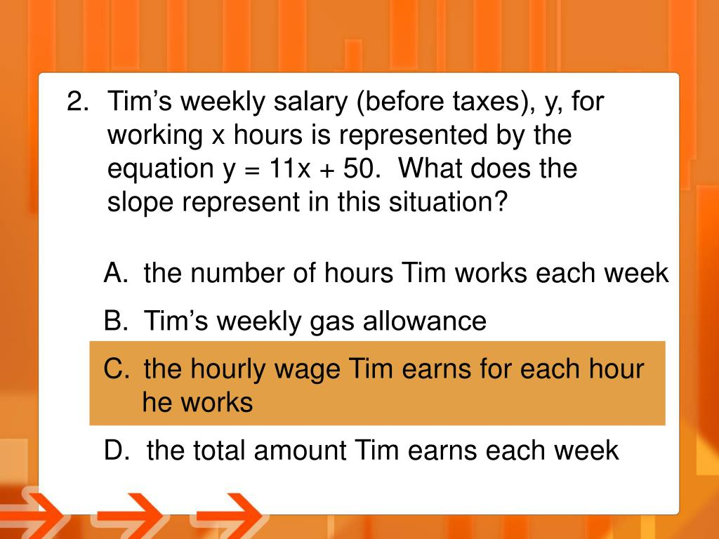 Tim's weekly salary (before taxes), y, for