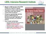lbnl intensive research institute
