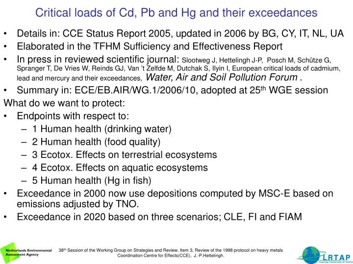 Critical loads of cd pb and hg and their exceedances