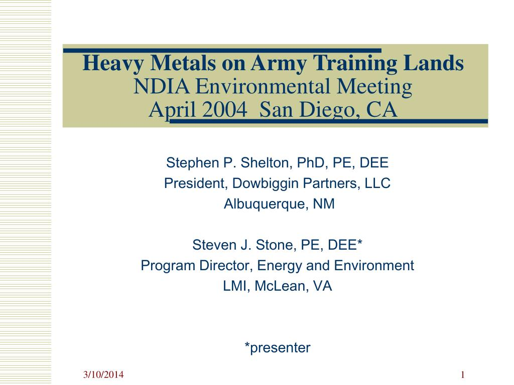 heavy metals on army training lands ndia environmental meeting april 2004 san diego ca l.