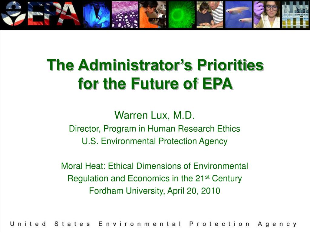 the administrator s priorities for the future of epa l.