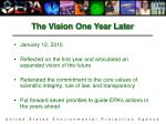 the vision one year later