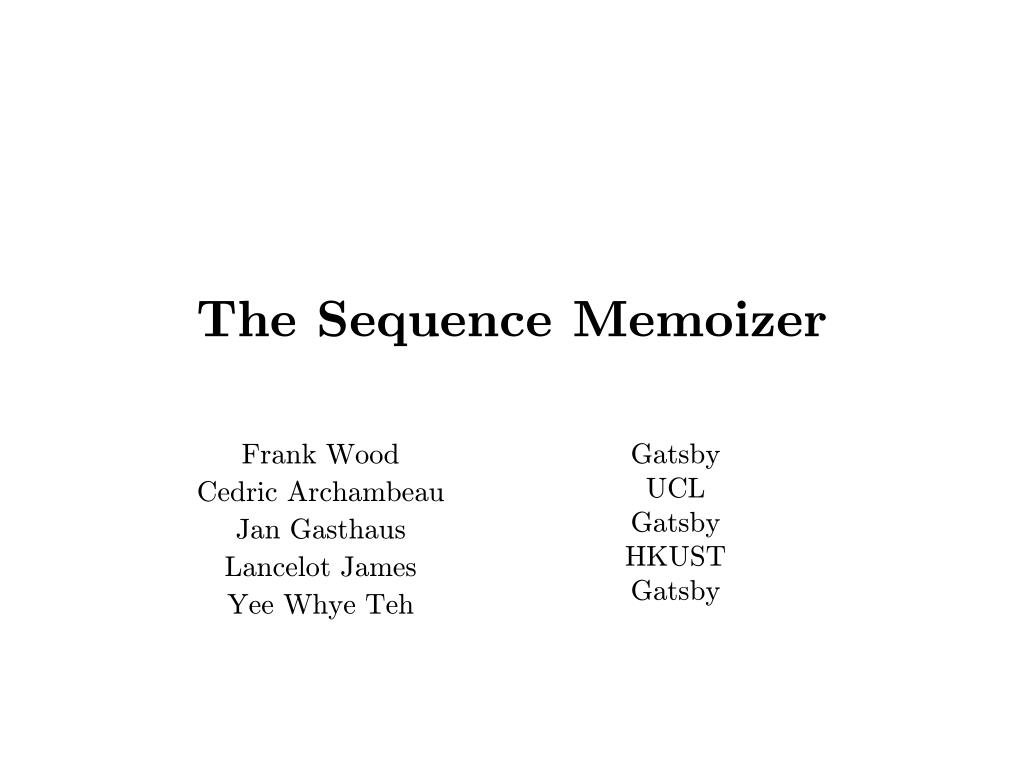 the sequence memoizer l.
