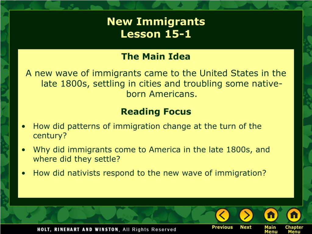 new immigrants lesson 15 1 l.