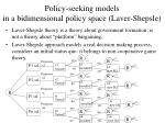 policy seeking models in a bidimensional policy space laver shepsle