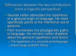 differences between the two contributions from a linguistic perspective