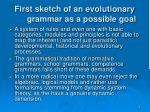 first sketch of an evolutionary grammar as a possible goal