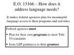 e o 13166 how does it address language needs