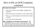 how to file an ocr complaint continued