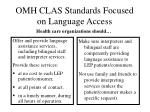 omh clas standards focused on language access