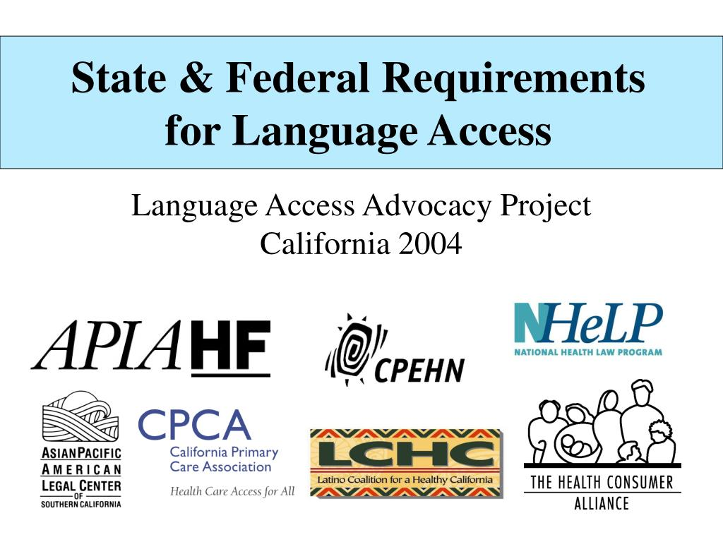 state federal requirements for language access l.