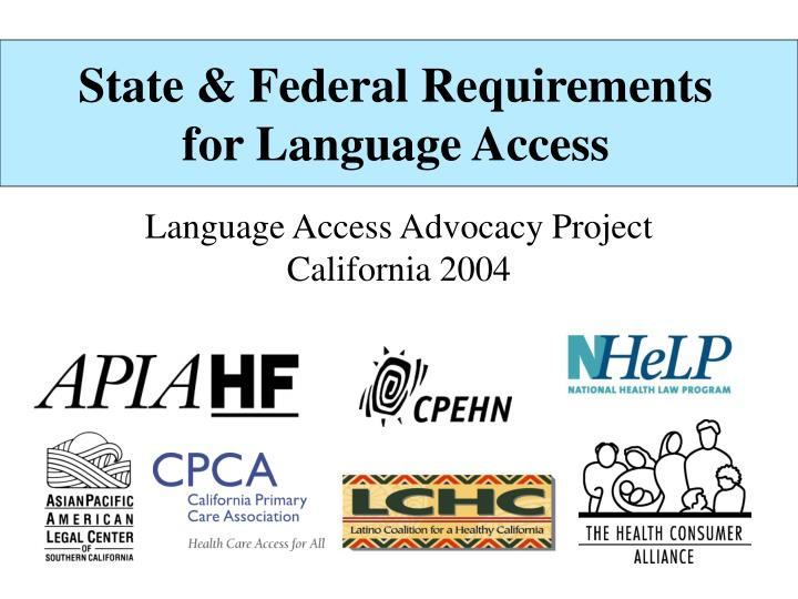 state federal requirements for language access n.