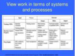 view work in terms of systems and processes