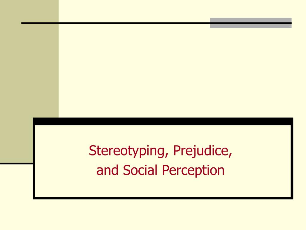 stereotyping prejudice and social perception l.