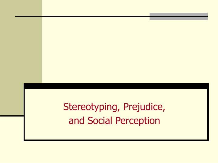 Stereotyping prejudice and social perception