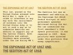 the espionage act of 1917 and the sedition act of 1918