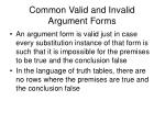 common valid and invalid argument forms