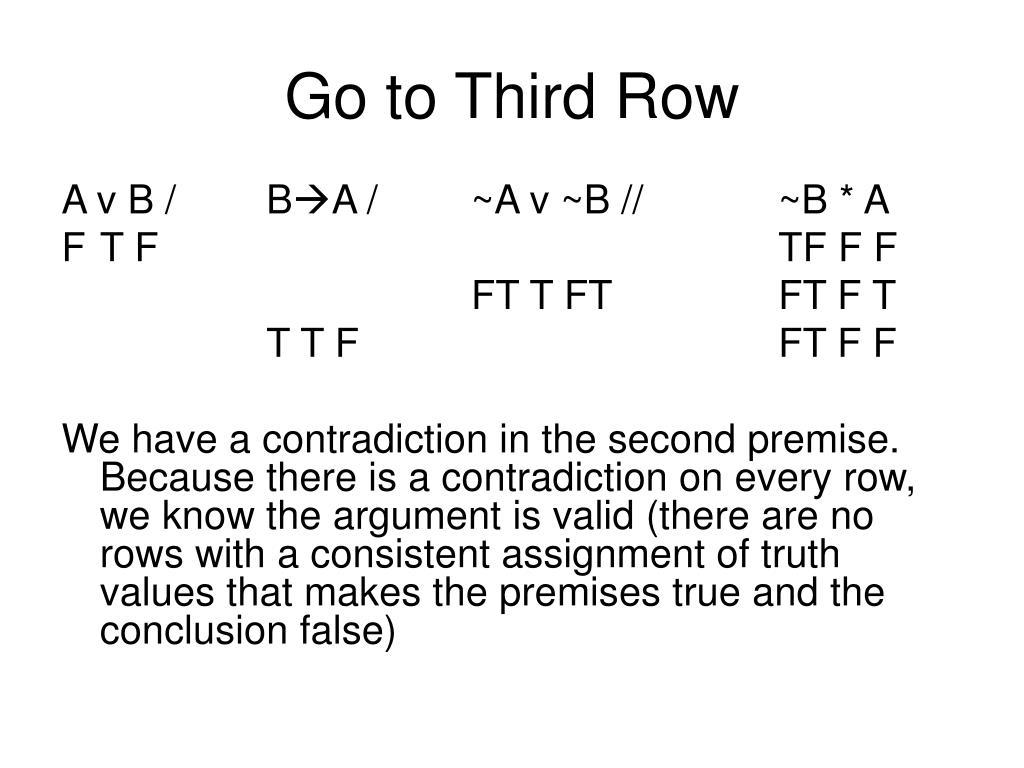 Go to Third Row