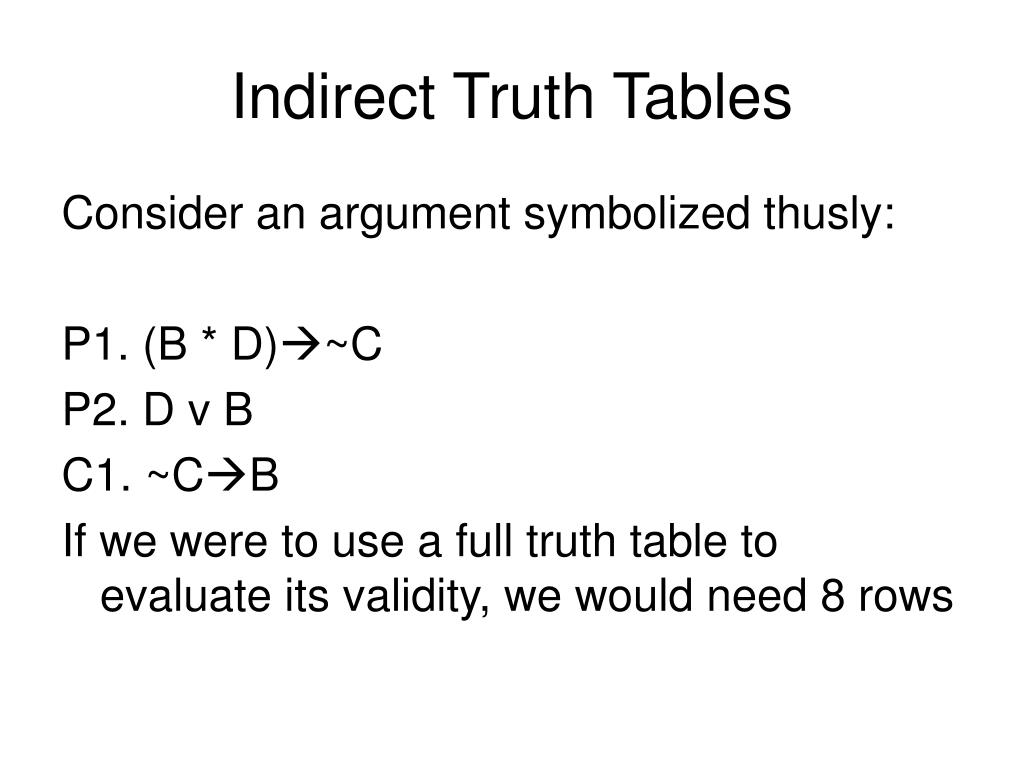 Indirect Truth Tables