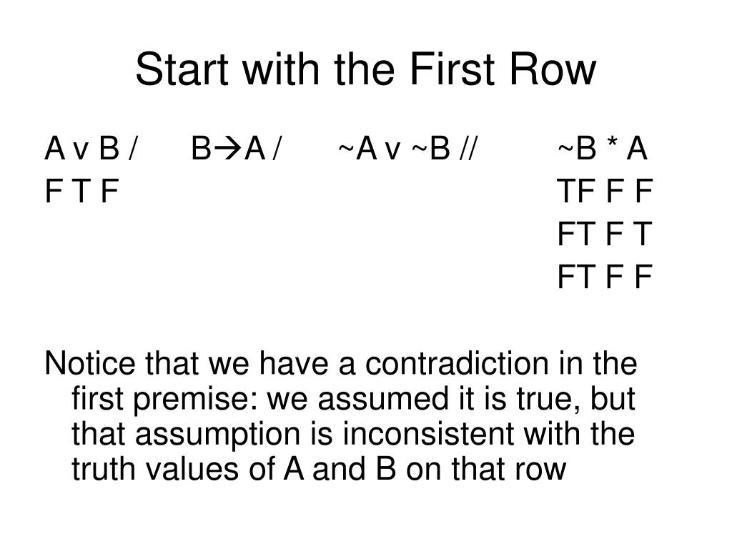 Start with the First Row