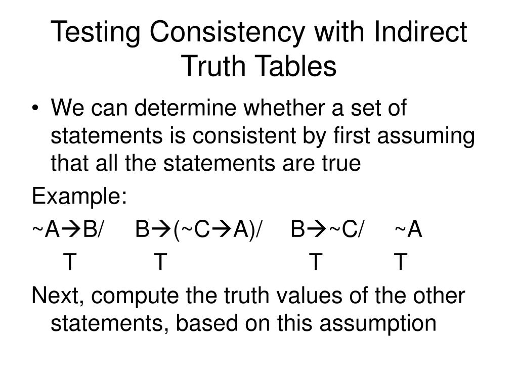 Testing Consistency with Indirect Truth Tables