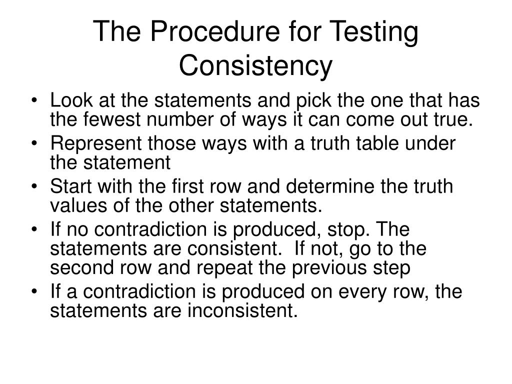 The Procedure for Testing Consistency