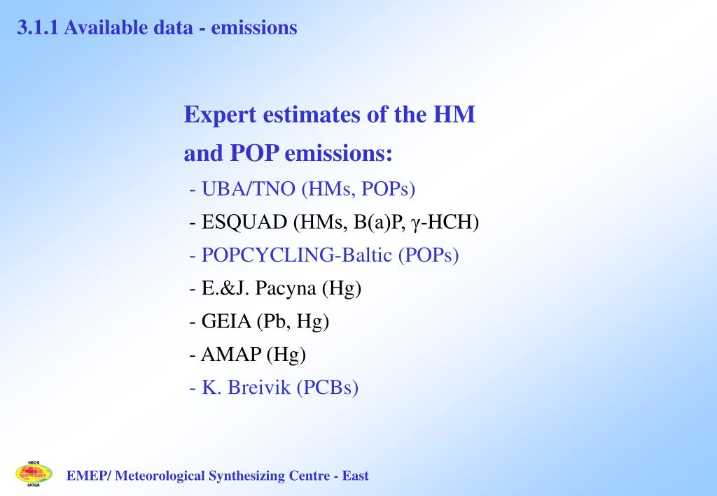 3.1.1 Available data - emissions