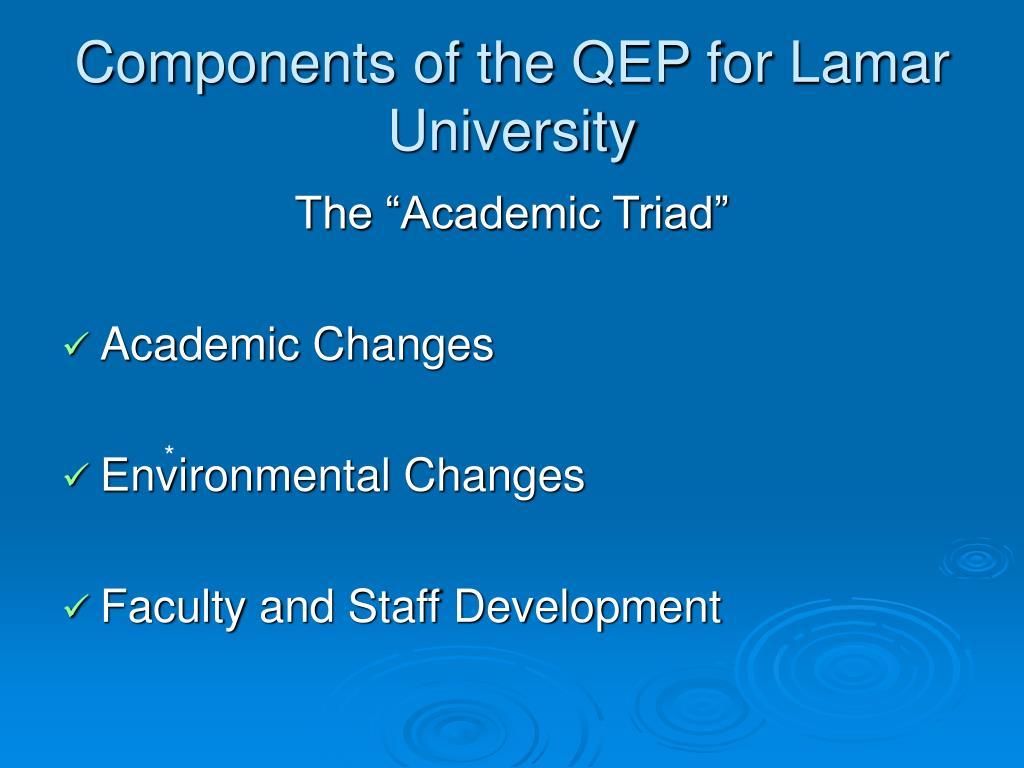 components of the qep for lamar university l.