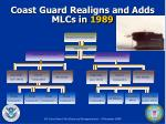 coast guard realigns and adds mlcs in 1989