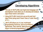 developing algorithms
