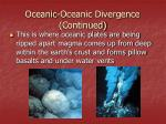 oceanic oceanic divergence continued