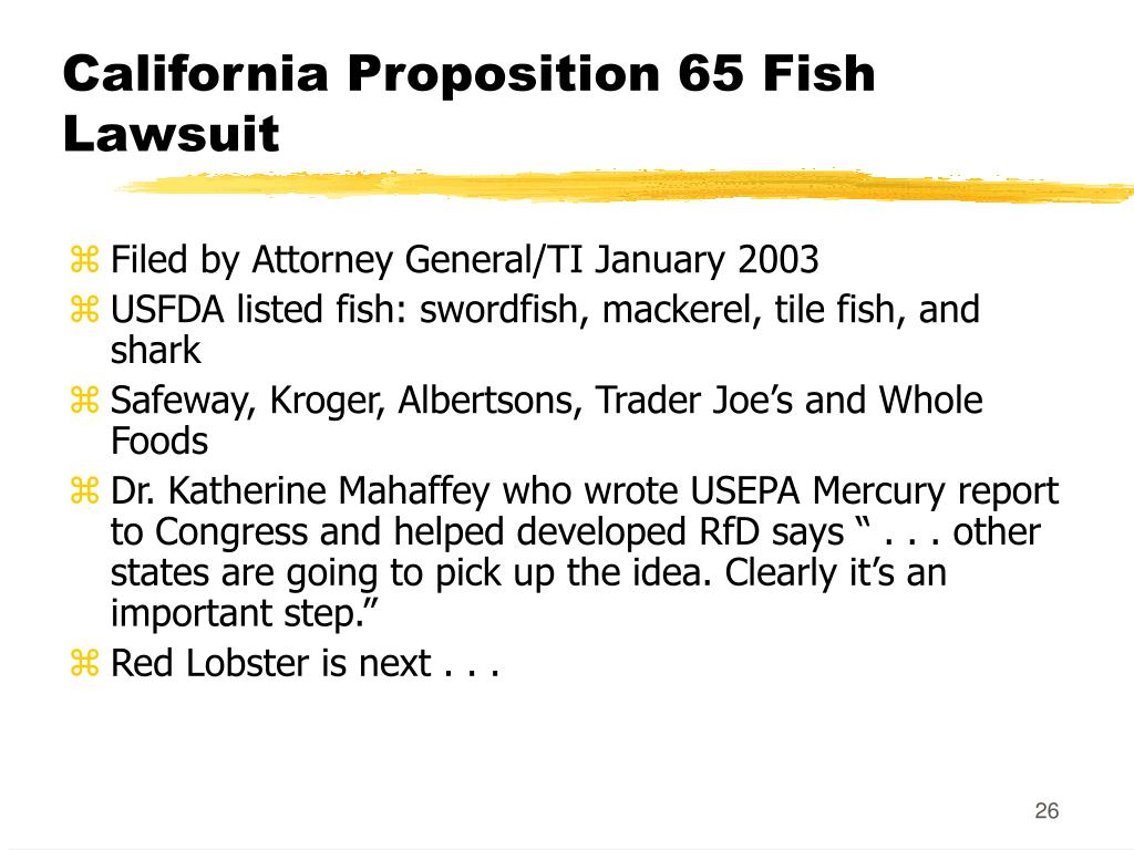 California Proposition 65 Fish Lawsuit