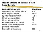 health effects at various blood lead levels
