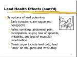 lead health effects cont d